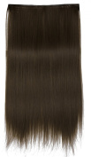 SARLA 60cm Straight Invisible Wire Flip in Hair Extension Synthetic Heat Resistant Fibre Halo Hair Extension M02