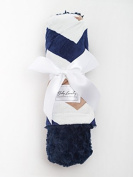 Navy Chevron/Navy Tile Baby Blanket