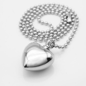 Stainless Steel Heart Shape Cremation Urn Keepsake Memorial Pendant Ball Bead Chain Necklace