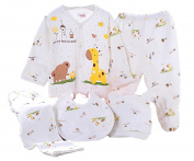WANGSAURA Baby Infant 5pcs Cotton Clothing Set (Cap+Bib+Pyjamas Suit+Pants)Newborn Caring Gift 0-3 Months