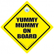 Yummy Mummy on Board Sign, Yummy Mummy, Yellow, Baby on Board Sign Style, baby on board, Bumper Sticker Style, Car Sign, Auto Sign