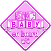PINK BABY BLOCKS Baby on Board Car Window Sign