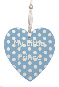 My little prince - blue polka dot hanging heart plaque