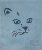 "Art For Kids 110 x 130 cm Acrylic High Quality ""Meow the Cat"" Beautiful and Durable Children Design Rug, Blue"