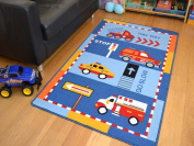Kids Non Slip Machine Washable Rescue Vehicles Play Mat. Available in 3 Sizes