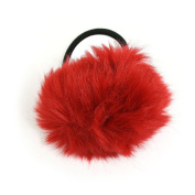 Beautiful Bead Lovely Pom Pom Decor Stretchy Band Hair Tie Ponytail Hairband Red & Black