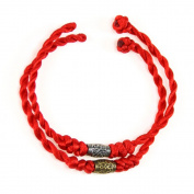 BrightTea® Chinese Feng Shui Lucky lucky red string rope hand-woven pieces with pure the bronze beads, packing 2PCS