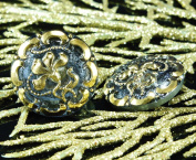 Handmade Czech Glass Buttons Gold Flower Blue Star Size 10, 22.5mm 1pc