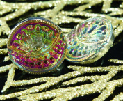 Handmade Czech Glass Buttons Small Flower Eye Gold Volcano Size 8, 18mm 1pc