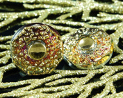 Handmade Czech Glass Buttons Small Spotted Sun Flower Gold Vitrail Size 8, 18mm 1pc