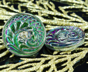 Handmade Czech Glass Buttons Spiral Flower Leaf Large Green Vitrail Silver Size 12, 27mm 1pc
