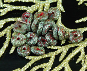 NEW SHAPE 20pcs Rough Picasso Rustic Red Grey Lustre Waved Flat Round Disc One Hole Czech Glass Beads Disc 8mm