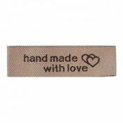 50 Count Hand Made Woven Tags with Interlocking Hearts Light Coffee Colour 50mm x 15mm