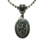 Guardian Angel Protect Protection Medal Pendant with Chain Necklace Pray For Us Silver Tone
