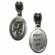 Guardian Angel Protect Protection Medal Pendant Charm Pray For Us Made in Italy Silver Tone