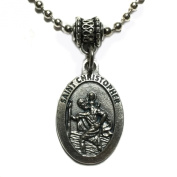 Saint Christopher Travel Travellers Protection Medal Pendant Necklace with Chain Catholic Made in Italy Silver Tone