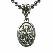 Four Way Cross Jesus Joseph Mary Crucifixion Silver Tone Medal Pendant with Chain Necklace Catholic