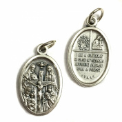 Four Way Cross Jesus Joseph Mary Jesus Crucifixion Silver Tone Italian Medal Pendant Catholic