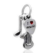 Choruslove 925 Sterling Silver I Love Music Pendant Charm for European Bracelets