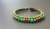 Alternate Colour Jade Brass Bead Bracelet