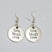 Live Laugh Love Earrings Silver Dangle Earrings Charm Best Gift Bfor Woman