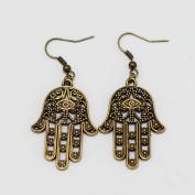 Brass Hamsa Earrings - Hand of Fatima - Charm Brass Hand Earrings