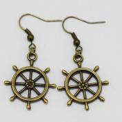 Charm Wheels Earrings. Dangle Earrings. Hoop Earrings. Gift Idea for Women.