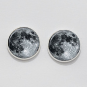 Full Moon Earrings Ear Studs. Charm Earrings.full Moon Earrings. Glass Dome Earrings.