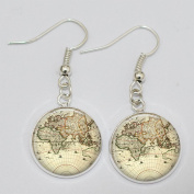 World Map Earrings. Charm Earrings.world Map Earrings. Glass Dome Earrings.