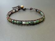 Fancy Jasper Brown Leather Bracelet