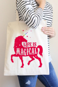Life Is Magical Pink Tote Bag in Natural Colour