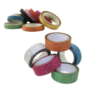 Adorox Assorted Glitter Washi Tape Sets Scrapbooking Paper Gift Wrapping Craft Supplies (Skinny + Regular