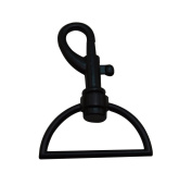 Tianbang Black 3.8cm Inside Dia D Ring Lobster Clasp Claw Swivel Eye Hole for Strap Pack of 4