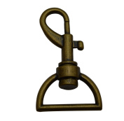 Tianbang Bronze 2.5cm Inside Dia D Ring Lobster Clasp Claw Swivel Eye Hole for Strap Pack of 4