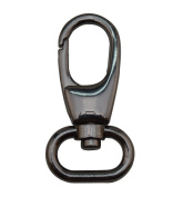 Tianbang Gun Black 2cm Inside Dia Oval Ring Olive Lobster Clasp Claw Swivel Eye Hole for Strap Pack of 4