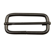 Tianbang Gun Black 3.2cm x 2cm Inner Size Non Welded Rectangle Buckle with sliding Bar for Strap Pack of 6