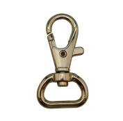 Tianbang Light Golden 1.5cm Inside Dia D Ring Lobster Clasp Claw Swivel Eye Hole for Strap Pack of 6