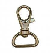 Tianbang Light Golden 2cm Inside Dia D Ring Lobster Clasp Claw Swivel Eye Hole for Strap Pack of 6