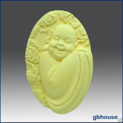 Smiling Robed Buddha - Detail of High Relief Sculpture - Silicone Soap/polymer/clay/cold Porcelain Mould