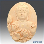 Buddha with Lotus - Oval - Detail of High Relief Sculpture - Silicone Soap/polymer/clay/cold Porcelain Mould