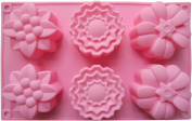 Cherion 6 Flowers Silicone Muffin Cups Handmade Soap Moulds Biscuit Chocolate Ice Cake Baking Mould Cake Pan