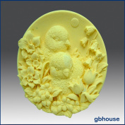 Baby Chicks with Flowers - Detail of High Relief Sculpture - Silicone Soap/polymer/clay/cold Porcelain Mould
