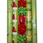 Juvenile Green Emoji Theme Deluxe Wrapping Paper - 4 Rolls