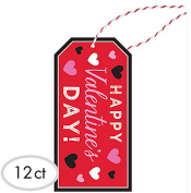 "Happy Valentines Day Inspired Hanging Gift Tags 12ct - Includes Twine & Spaces to Fill Out ""To"" & ""From! Perfect Addition for Gift Giving!"
