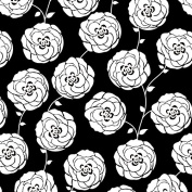 White Roses with Black Background Valentine's Day Wrapping Paper - 1.8m Roll