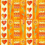 Orange Hearts Valentine's Day Wrapping Paper - 1.8m Roll