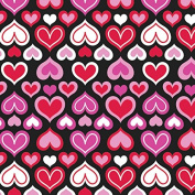 Red & Pink Hearts with Black Background Valentine's Day Wrapping Paper - 1.8m Roll