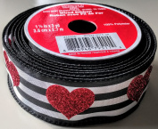 Celebrate It Glitter Heart on Stripes pattern 3.8cm . x 2.7m 100% Polyester Valentines Day Ribbon - Great for Any Valentines Event!