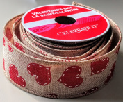 Celebrate It Stitched Heart pattern 3.8cm . x 2.7m 100% Polyester Valentines Day Ribbon - Great for Any Valentines Event!