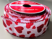 Celebrate It Sparkle Heart pattern 3.8cm . x 2.7m 100% Polyester Valentines Day Ribbon - Great for Any Valentines Event!